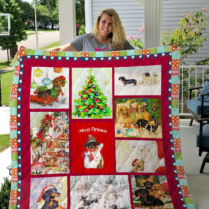 Merry Christmas Dachshund Quilt Blanket Great Customized Blanket Gifts For Birthday Christmas Thanksgiving