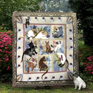 Lovely Cat And Flower Quilt Blanket Great Customized Gifts For Birthday Christmas Thanksgiving Perfect Gifts For Cat Lover