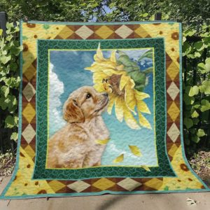 Golden Retriever With Sunflower Quilt Blanket Great Customized Blanket Gifts For Birthday Christmas Thanksgiving