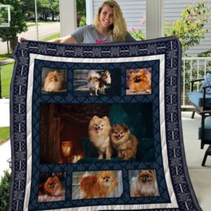 Cute Couple Pomeranian Quilt Blanket Great Customized Blanket Gifts For Birthday Christmas Thanksgiving