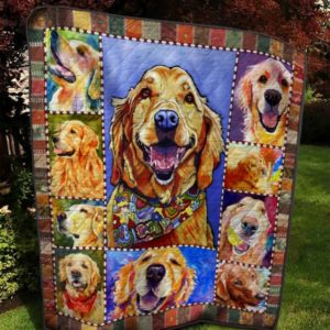 Golden Retriever Painting Quilt Blanket Great Customized Blanket Gifts For Birthday Christmas Thanksgiving
