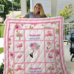 Flamingo With Flower Quilt Blanket Great Customized Blanket Gifts For Birthday Christmas Thanksgiving