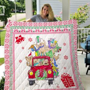 Golden Retriever Christmas Car Quilt Blanket Great Customized Blanket Gifts For Birthday Christmas Thanksgiving