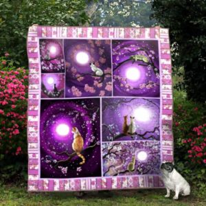 Cat And Cherry Blossom At Night Quilt Blanket Great Customized Gifts For Birthday Christmas Thanksgiving Perfect Gifts For Cat Lover