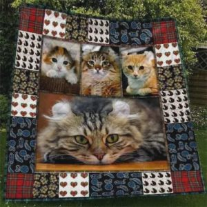 Cute American Curl Cat Quilt Blanket Great Customized Gifts For Birthday Christmas Thanksgiving
