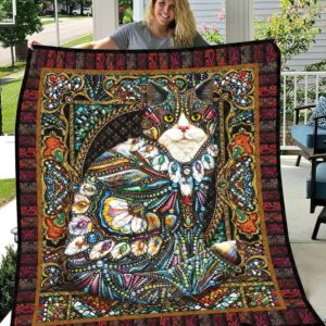 Gorgeous Gemstone Cat Hippie Style Quilt Blanket Great Customized Blanket Gifts For Birthday Christmas Thanksgiving
