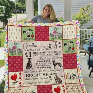Greyhound Live Happily After Ever Quilt Blanket Great Customized Blanket Gifts For Birthday Christmas Thanksgiving