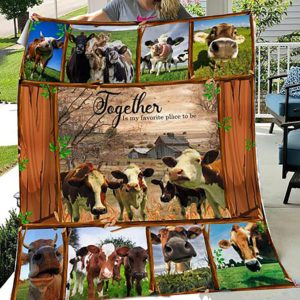 Cow Together Is My Favorite Place To Be Quilt Blanket Great Customized Gifts For Birthday Christmas Thanksgiving Perfect Gifts For Cow Lover