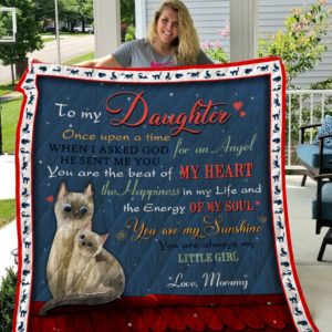 Personalized Cat Couple To My Daughter Quilt Blanket From Mom You Are The Of Beat My Heart Great Customized Blanket Gifts For Birthday Christmas Thanksgiving