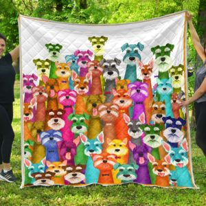 Colorful Schnauzer Quilt Blanket Great Customized Blanket Gifts For Birthday Christmas Thanksgiving Perfect Gift For Schnauzer Lovers
