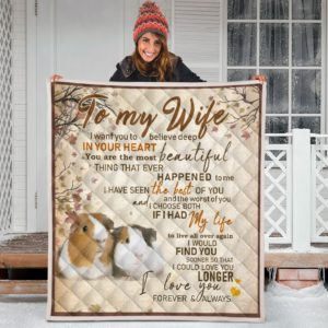 To My Wife - Guinea Pig - Quilt Blanket Great Gifts For Birthday Christmas Thanksgiving Anniversary