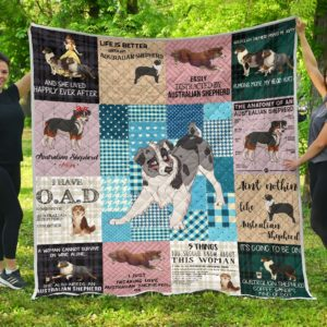 Australian Shepherd Quilt Blanket Great Gifts For Birthday Christmas Thanksgiving Anniversary