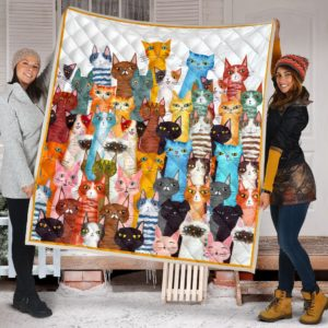 Multicolor Cats Quilt Blanket Great Customized Blanket Gifts For Birthday Christmas Thanksgiving Anniversary