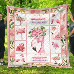 Flamingo And Flower Quilt Blanket Great Customized Blanket Gifts For Birthday Christmas Thanksgiving Anniversary