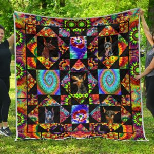 Doberman Color Quilt Blanket Great Gifts For Birthday Christmas Thanksgiving Anniversary