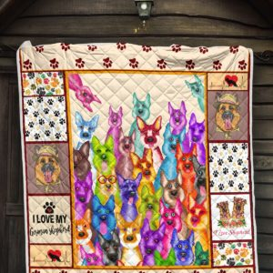 I Love My German Shepherd Colorful Of German Shepherd Faces Quilt Blanket Great Customized Blanket Gifts For Birthday Christmas Thanksgiving