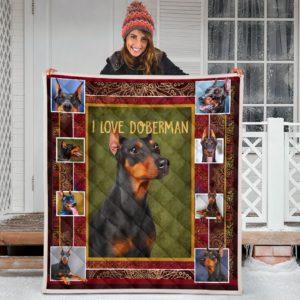 Doberman I Love Quilt Blanket Great Gifts For Birthday Christmas Thanksgiving Anniversary