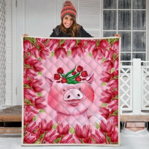 Pig Tulip Quilt Blanket Great Gifts For Birthday Christmas Thanksgiving Anniversary