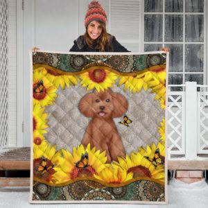 Poodle sunflowers Quilt Blanket Great Gifts For Birthday Christmas Thanksgiving Anniversary