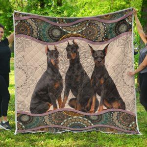 Doberman Mandala Quilt Blanket Great Gifts For Birthday Christmas Thanksgiving Anniversary
