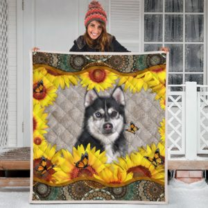 Husky Sunflower Quilt Blanket Great Gifts For Birthday Christmas Thanksgiving Anniversary