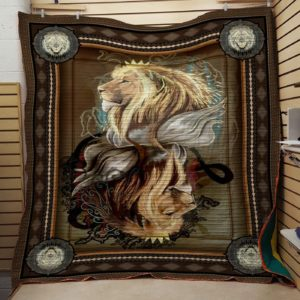 Lion Art Vintage Style Quilt Blanket Great Customized Blanket Gifts For Birthday Christmas Thanksgiving Anniversary