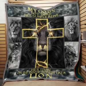 Lion My God's Not Dead Cross Quilt Blanket Great Customized Blanket Gifts For Birthday Christmas Thanksgiving