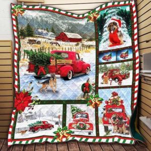 Christmas Real Love Christmas Truck And German Shepherd Quilt Blanket Great Customized Blanket Gifts For Birthday Christmas Thanksgiving