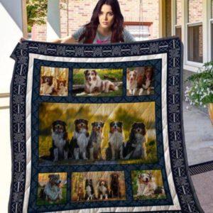 Australian Shepherd Beside Other Breeds Emotion Quilt Blanket Great Customized Blanket Gifts For Birthday Christmas Thanksgiving
