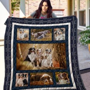 Four Australian Shepherd Running With A Cub Emotion Quilt Blanket Great Customized Blanket Gifts For Birthday Christmas Thanksgiving