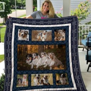 Four Australian Shepherd Lying In The Forest Dog Friends Emotion Quilt Blanket Great Customized Blanket Gifts For Birthday Christmas Thanksgiving