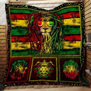 Lion With Sunglasses Colorful  Reggae Lion Quilt Blanket Great Customized Blanket Gifts For Birthday Christmas Thanksgiving