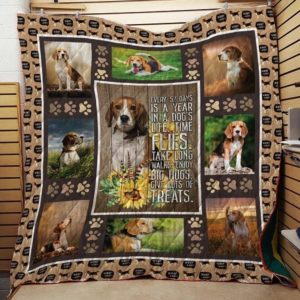 Dog And Flower Give Lots Of Treat Every 52 Days Is A Year In A Dog's Life Beagle Quilt Blanket Great Customized Blanket Gifts For Birthday Christmas Thanksgiving