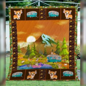 Camping Corgi Dog Cute Face Hearts Quilt Blanket Great Customized Blanket Gifts For Birthday Christmas Thanksgiving