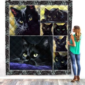 Black Cat Quilt Blanket Great Customized Gifts For Birthday Christmas Thanksgiving Perfect Gifts For Cat Lover