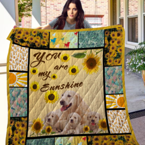 Golden Retriever Family You Are My Sunshine Dogs And Sunflowers Quilt Blanket Great Customized Blanket Gifts For Birthday Christmas Thanksgiving