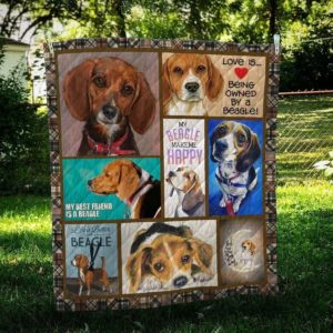 Beagle Dog Love Is Being Owned By A Beagle Hunting Dog Lying Quilt Blanket Great Customized Blanket Gifts For Birthday Christmas Thanksgiving