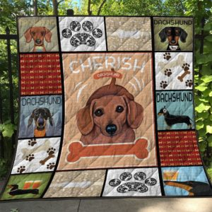 Cherish Dachshund Stamps Cute Face Dog Fingerprints Quilt Blanket Great Customized Blanket Gifts For Birthday Christmas Thanksgiving