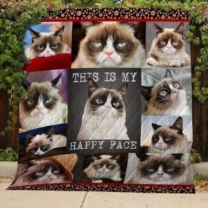 Grumpy Cat This Is My Happy Face Quilt Blanket Great Customized Gifts For Birthday Christmas Thanksgiving Perfect Gifts For Cat Lover