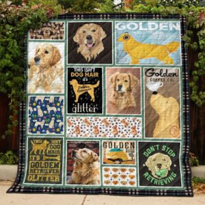 Golden Retriever This Isn't Dog Hair It's Glitter Golden Coffee Quilt Blanket Great Customized Blanket Gifts For Birthday Christmas Thanksgiving