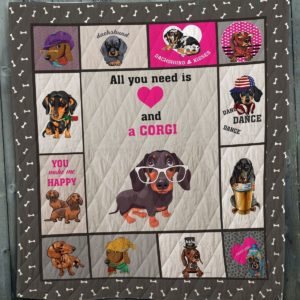 All I Need Is Love And Dachshund Kisses Dance Dachshund Wearing White Glasses Quilt Blanket Great Customized Blanket Gifts For Birthday Christmas Thanksgiving