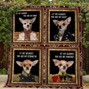 Chihuahua Dogs At My Darkest You Are My Light Small Dog Wearing The Noble's Clothes Quilt Blanket Great Customized Blanket Gifts For Birthday Christmas Thanksgiving