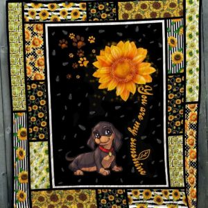Black Dachshund Dog Drawing You Are My Sunshine Sun Flower Pattern Quilt Blanket Great Customized Blanket Gifts For Birthday Christmas Thanksgiving