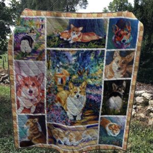 Corgi My Boss Sleeping Face Play In Flowers Garden Quilt Blanket Great Customized Blanket Gifts For Birthday Christmas Thanksgiving