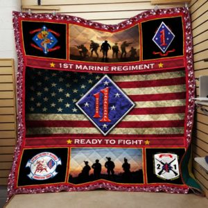 US Marine Corps 1st Marine Regiment Ready To Fight Quilt Blanket Great Customized Blanket Gift For Anniversary