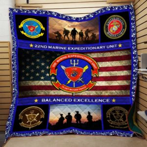 US Marine Corps 22nd Marine Expeditionary Quilt Blanket Great Customized Blanket Gift For Anniversary